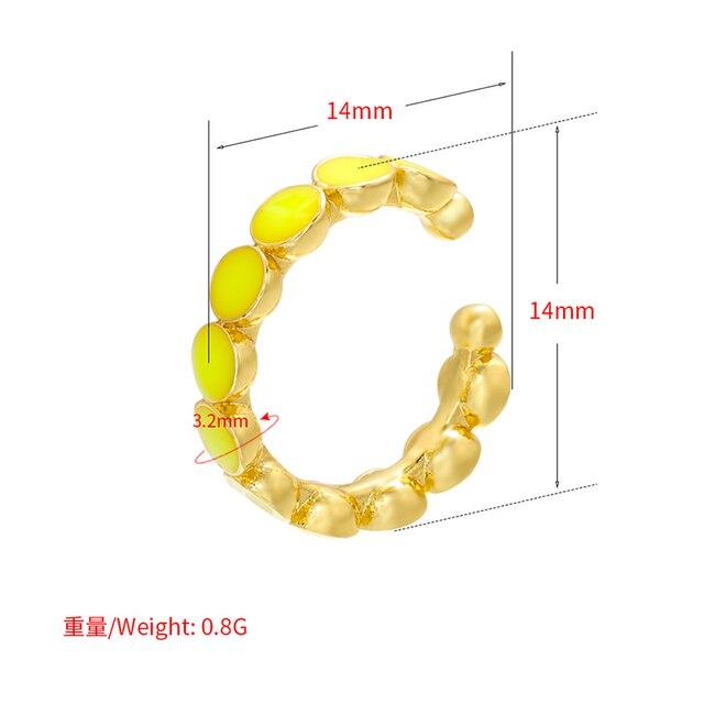 Zhukou 2020 Mode 1 Stuk Gouden Kleur Vrouwen Oor Manchetten Emaille Stijl Oor Clips Geen Doorstoken Oorbellen Vrouwen Sieraden Model VE310