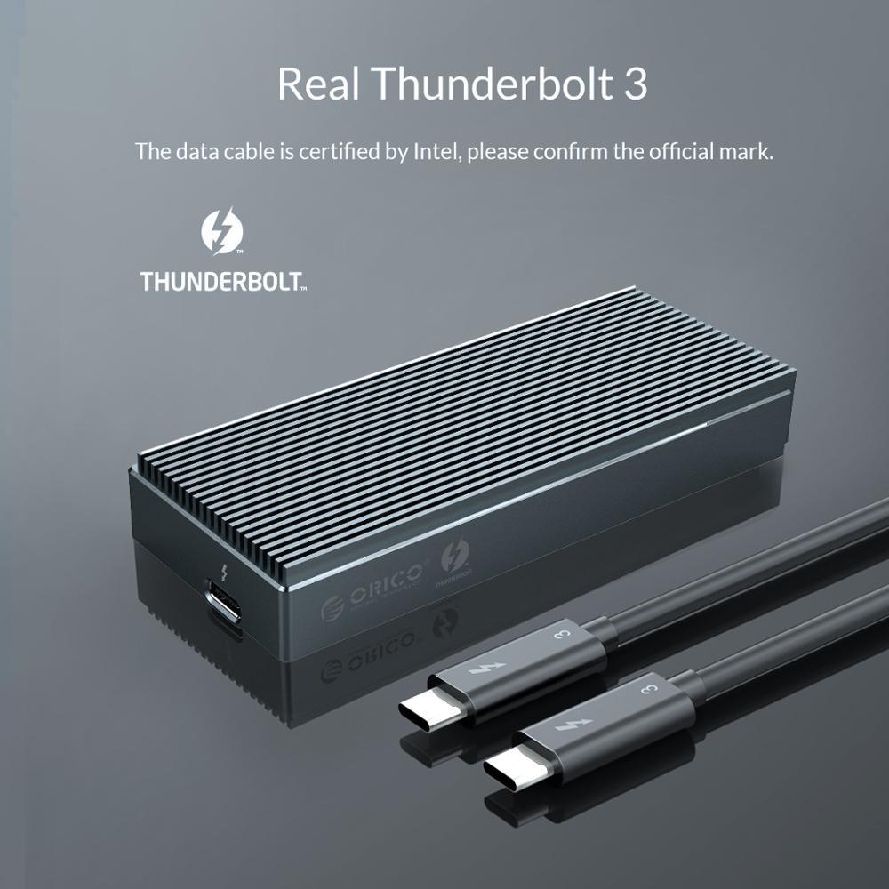 Image 3 - ORICO Thunderbolt 3 NVME M.2 obudowa SSD wsparcie 40 gb/s 2TB aluminium USB C z Thunderbolt 3 C do C kabel do laptopa pulpitObudowa dysku twardego   -