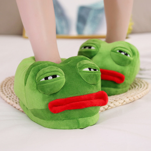 Image 4 - 1 pc very bad Sad frog slipper green frog cotton slippers frog cartoon cotton plush slippers home indoor green shoes