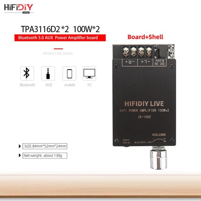 HIFIDIY LIVE Bluetooth 5.0 AUX TPA3116 Digital Power Amplifier board 2x 50W 100W speaker Stereo Audio AMP Module Home music 1002 5