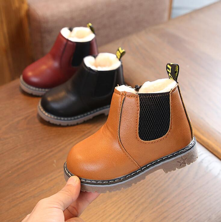 Winter Boy Boots Children Shoes New Boy Leather Fashion Martin Boots Student Sneakers Plus Velvet Warm Kids Snow Boot