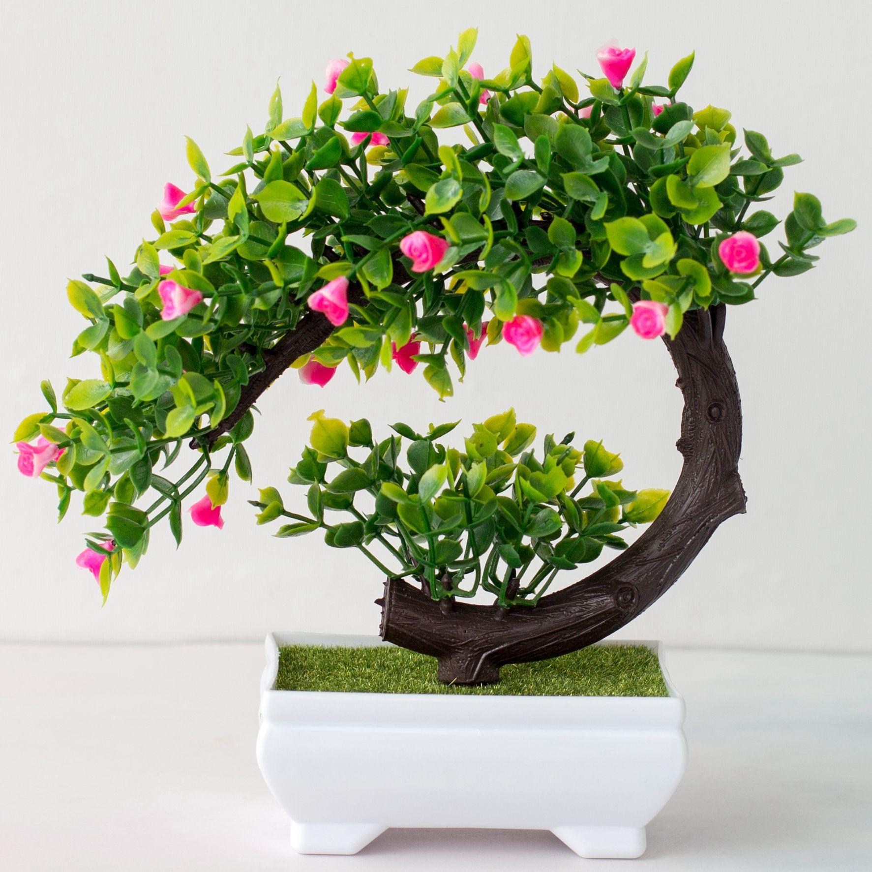 Fake Bonsai Artificial Potted Plant Decor Home Plants Garden Pot Flowers