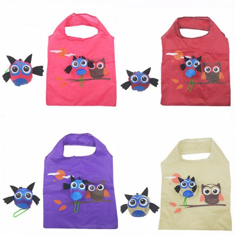 Vogvigo Foldable Shopping Bag Durable Owl Tote Reusable Floral Handbag Large Capacity Oxford Cloth Casual Grocery Bag