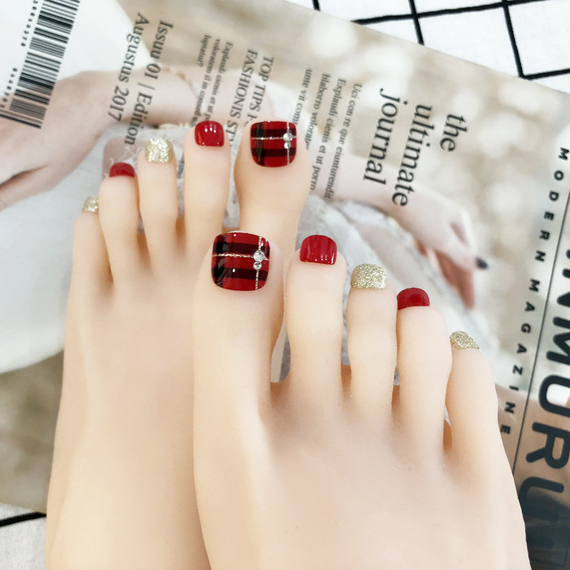 New Style Toenail Patch Nail Stickers Waterproof Long-lasting South Korea Toenails PCs Wearable Pedicure Fake Nails Finished Pro