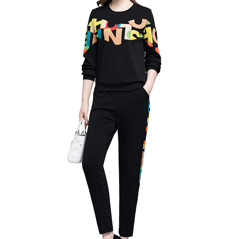 Fashion Casual Suit Female Spring Korean Version Plus Size Loose Shirt Pants Feet Sportswear Two Piece Set Women Club Outfits