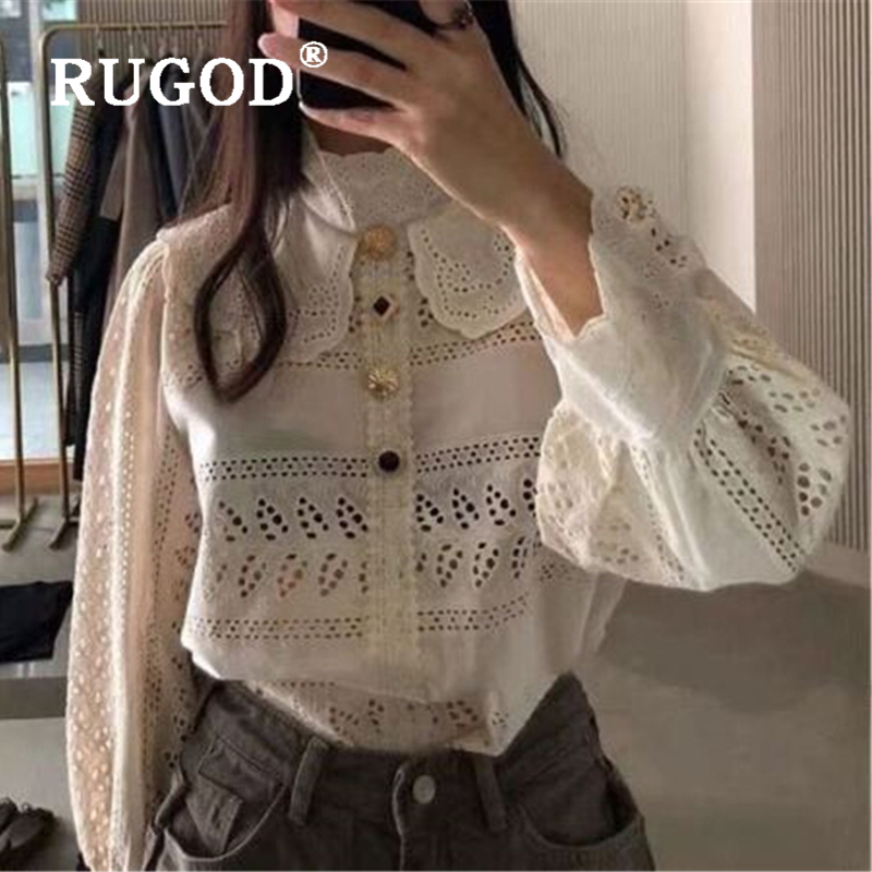 RUGOD Korean Chic White Hollow Out Women Blouse Fashion Peter Pan Collar Lace Office Ladies Wear  Elegant Lantern Sleeve Tops F