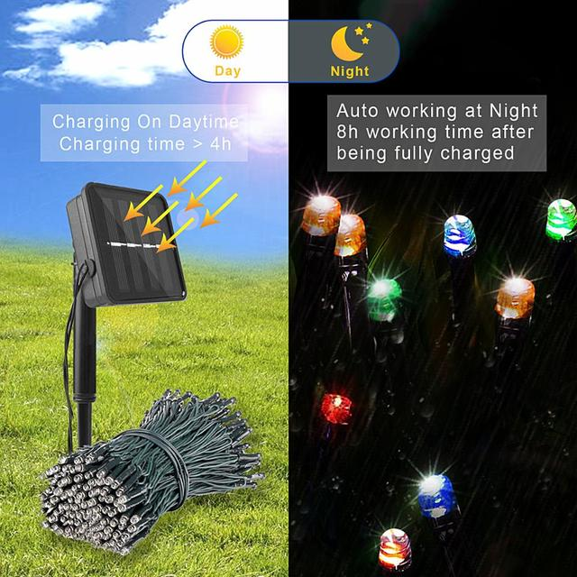 200 Led Solar Garland String Fairy Lights Outdoor 22M Solar Powered Lamp for Garden Decoration 3 Mode Holiday Xmas Wedding Party 3