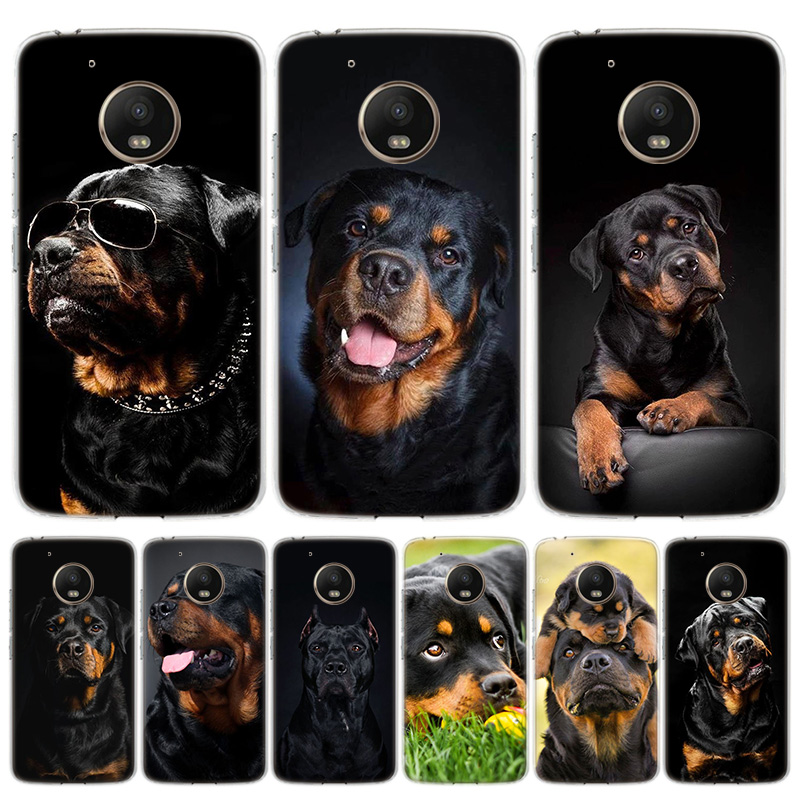 Cute Rottweiler Dog Phone Case For Motorola Moto G7 G8 G6 G5S G5 E6 E5 E4 Plus Power G4 One Action X4 EU Gift Coque Cover