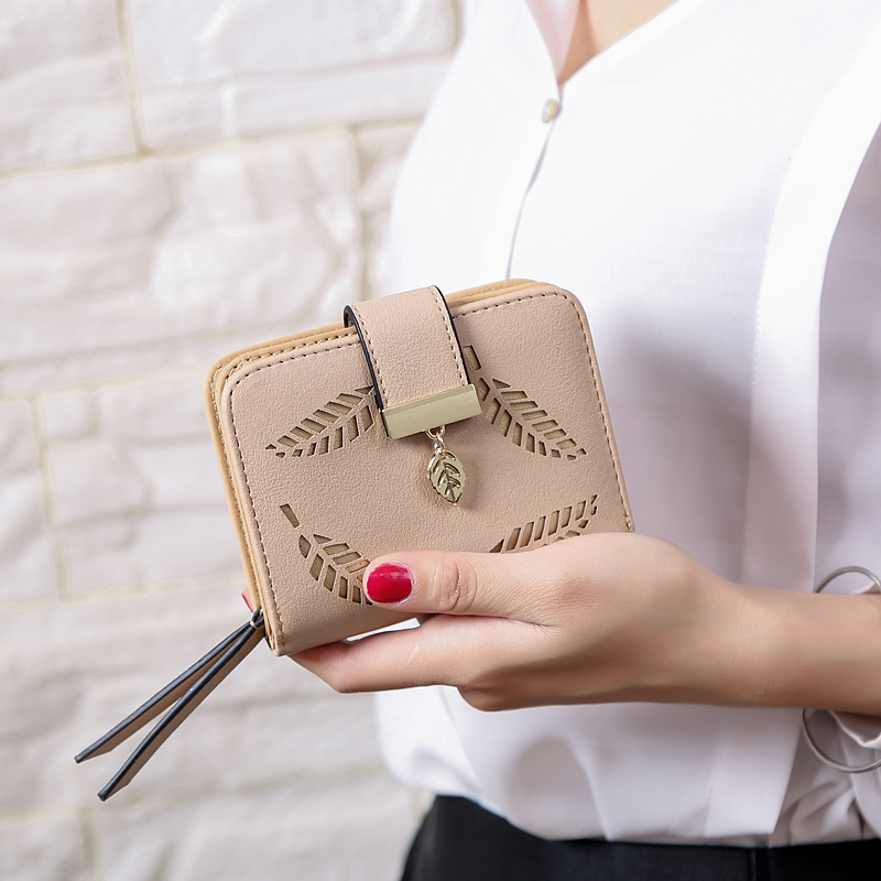 Женский кошелек, модный кошелек, женские короткие кошельки, полый кошелек, Сумочка для женщин, монета из искусственной кожи, кошельки, держатель для карт Carteira - Цвет: Khaki