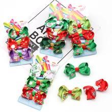 Oaoleer Hair Accessories 1 Set 3 Christmas JOJO Bows for Girls siwa Hairgrips Print Kids Dance Party Headdress