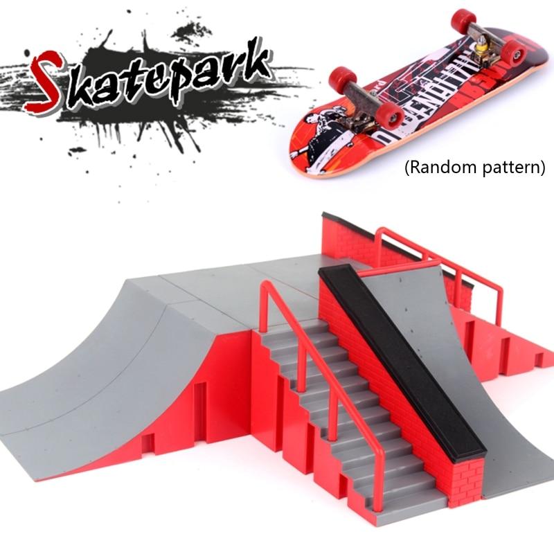 BINGBIAN Mini Scooter Scene Prop Finger Skate Park Kit Ramp Part with 1 Finger Skateboard
