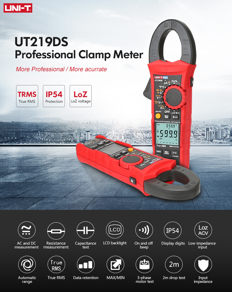 UT219 True 1000V UNI Phase Power Test RMS T 3 Motor Digital Inrush Off AC Meter Clamp DC Sequence Auto Series Professional