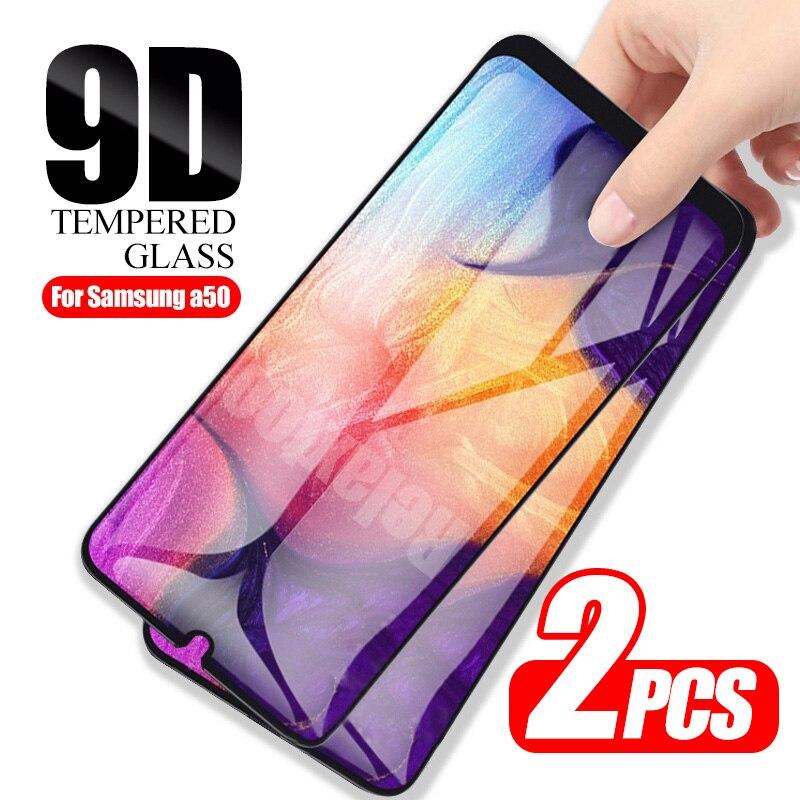 2 peças de vidro de proteção 9d para samsung galaxy a50 protetor de tela no sumsung galax a51 a 50 51 a505f a515f protetor de tela