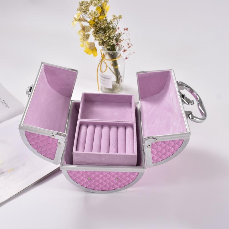 Купить с кэшбэком wenjie brother pillow design Aluminium alloy Make up Box Makeup Case Beauty Case Cosmetic Bag Multi Tiers Lockable Jewelry Box