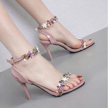 new summer 2020 high heel sandal for women is 9CM high, high heel, thin heel, flower color, one-band sandal for women