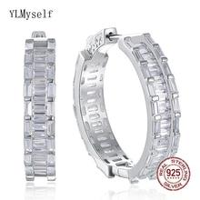28 mm diameter Real 925 sterling silver hoop earrings jewelry fresh fine jewellery Night-Bar circle earring for women