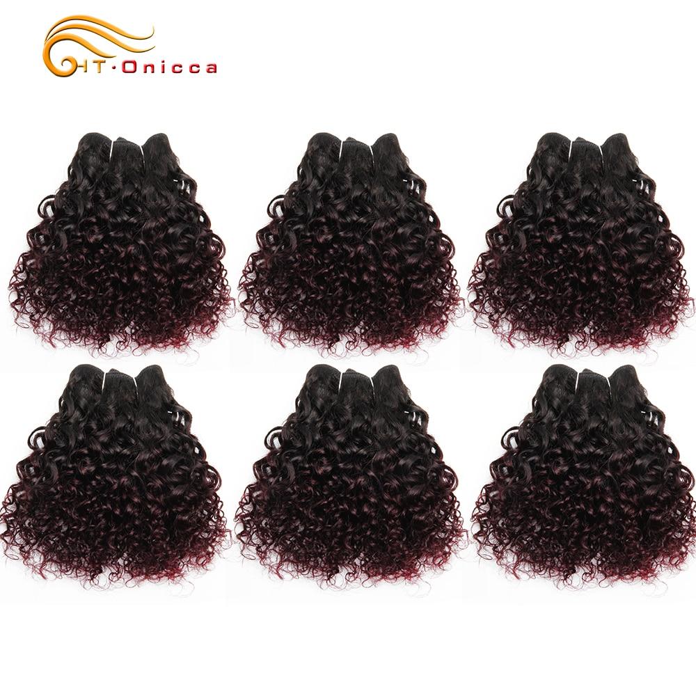 Jerry Curl Human Hair 6 Pcs/lot Brazilian Remy Hair Weave Bundles 1B 99J 27 30 Color Hair Extension For Women Can Make A Wig