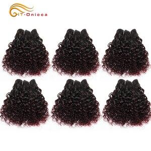 Человеческие волосы Jerry Curl 6 шт./лот, бразильские волосы Remy, плетение в пучках 1B 99J 27 30 цветов, наращивание волос для женщин, можно сделать пари...