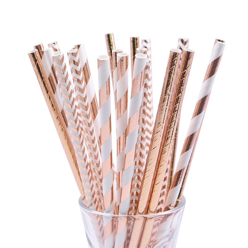 25/50pc Multicolor Rose Gold Silver Pink Blue Foil Star Heart Striped Paper Drinking Straws For Wedding Birthday Christmas Decor