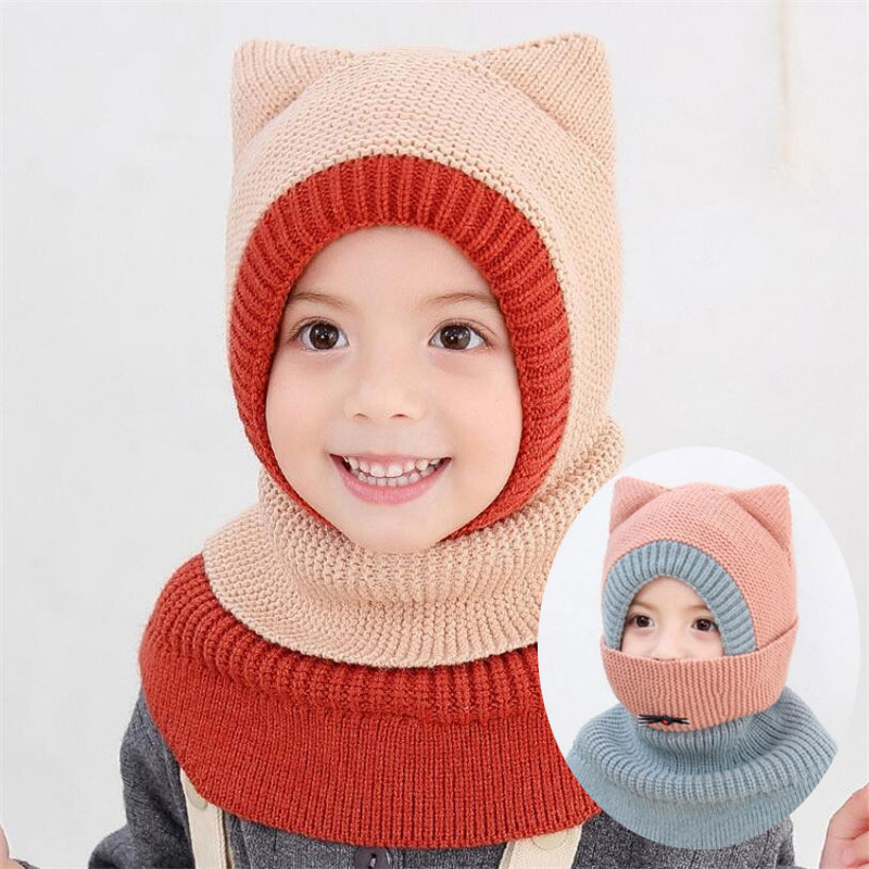 2019 Knit Hooded Scarf Kids Hat And Scarf Child With Mask Winter Warm Protection Ear Cap Circulal Scarves Girls Boy Accessories
