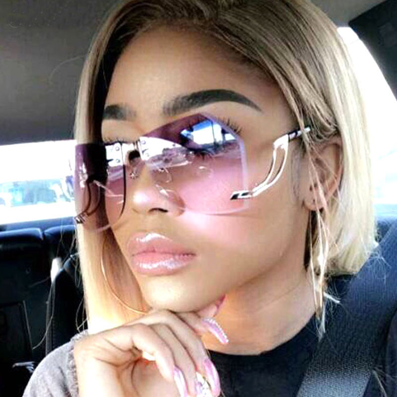 FEISHINI Metal Rimless Frame Women Sunglasses Brand Design Fashion Trendy Oversized Glasses Gradient UV Gradient