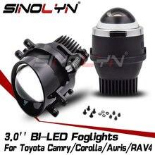 Sinolyn światła przeciwmgielne Bi Led obiektyw PTF dla Toyota Camry/Corolla/Highlander/Yaris/Auris/RAV4/Peugeot projektor akcesoria do tuningu samochodów