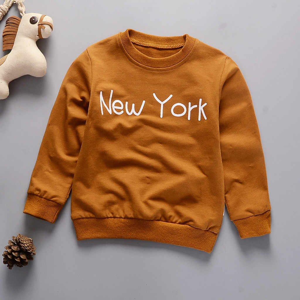Autumn Winter Sweatshirt Toddler Kids Baby Girl Boy Letter New York Long Sleeve Sweatshirt Pullover Tops Hoodie For Kids Clothes