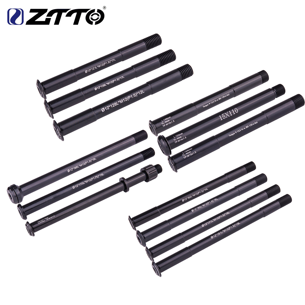 ZTTO MTB Thru axle Road Bike Shaft Front hub Rear hub Skewers 12mm 15mm Wheel Axis Hub Shaft 15x100 12x142 12x100 12x148 15x110(China)