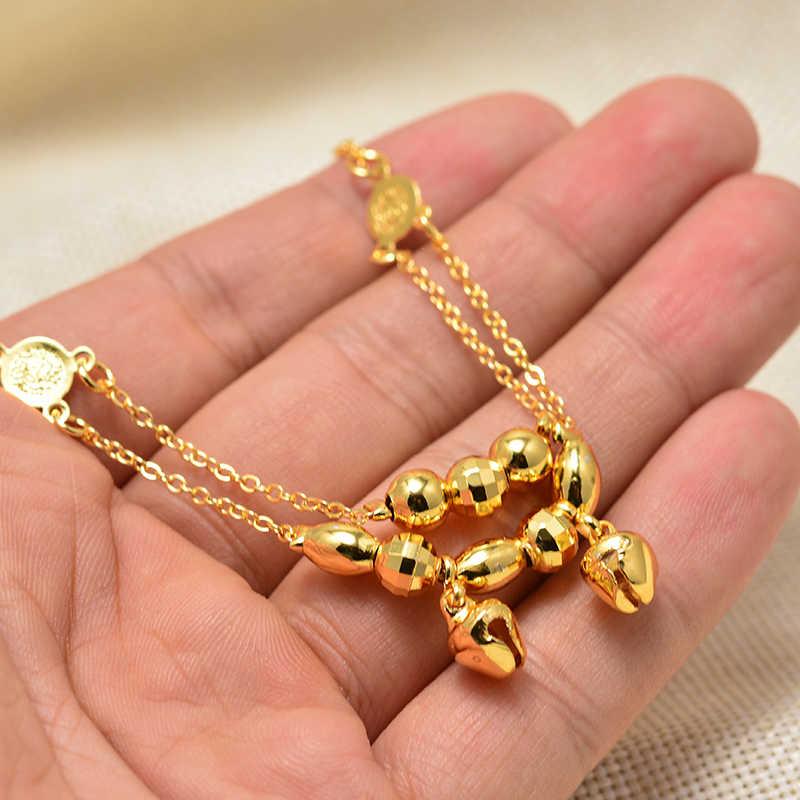 Annayoyo Dubai árabe Vintage oro cadena de eslabones tobilleras para Mujeres Hombres bebé tobillo pulsera moda playa Accesorios joyería
