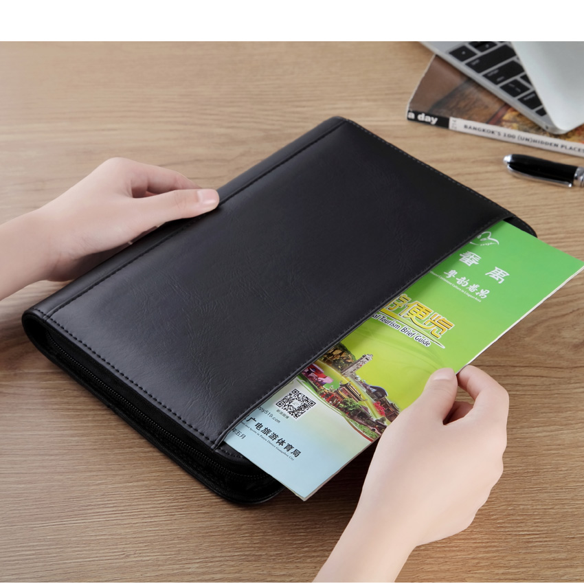 A5 Business padfolio briefcase filing folder portfolio with zipper notepad writing pad notebook with card pocket calculator(China)