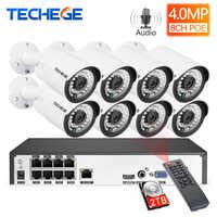 Techgee H.265 8CH 4MP système de caméra de vidéosurveillance Audio Surveillance étanche extérieure Kit NVR Kit de caméra de sécurité PoE détection de mouvement