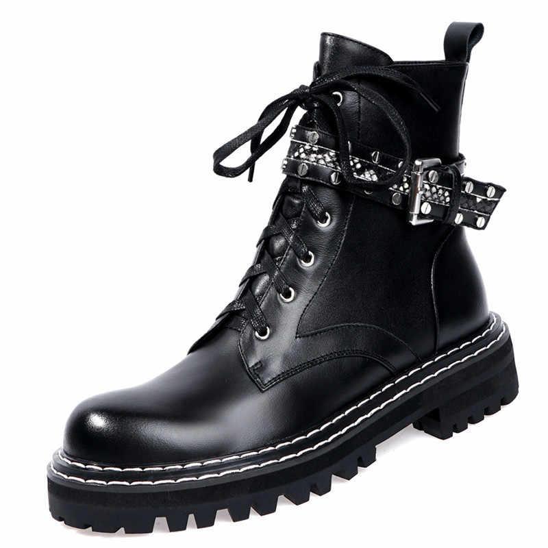Fedonas Đinh Tán Khóa Nữ Size Lớn Mắt Cá Chân Giày Bò Bằng Sáng Chế Da Xe Máy Đảng Đêm Giày Người Phụ Nữ Chun Gót