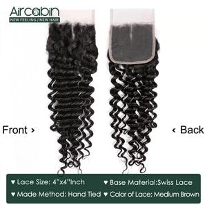 Image 4 - Aircabin Бразильские глубокие волнистые человеческие волосы 3 пучка с 4x4 синтетическое закрытие шнурка не Реми глубокие пучки волнистых волос с закрытием Tissage