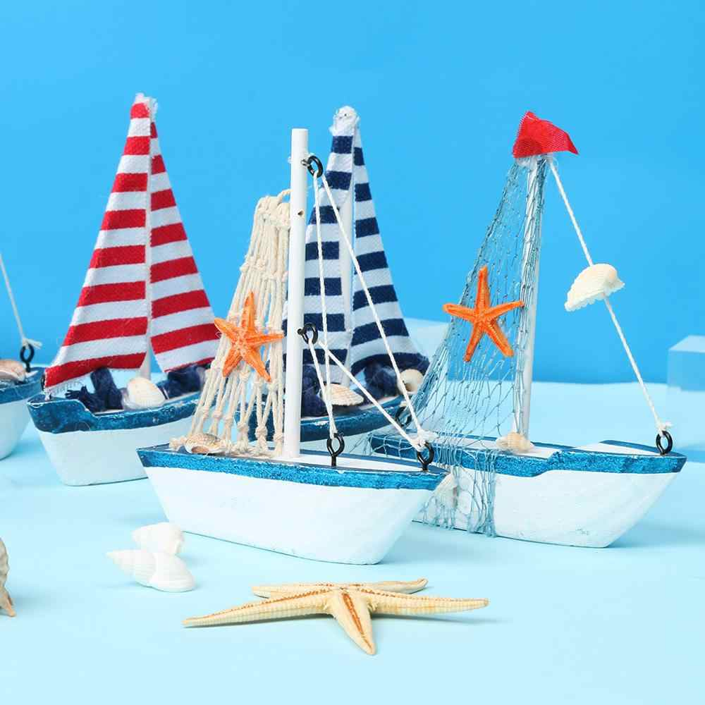 1PC Cute Mini Sailing Boat Model Nautical Home Decor Cloth Sailboat Model Flag Table Ornament Wood Crafts Toy Kids Gift CD