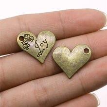 Venta de liquidación, 4 Uds., Color bronce antiguo 18x21mm Joy colgante de amuletos de corazón para fabricación de joyería Diy