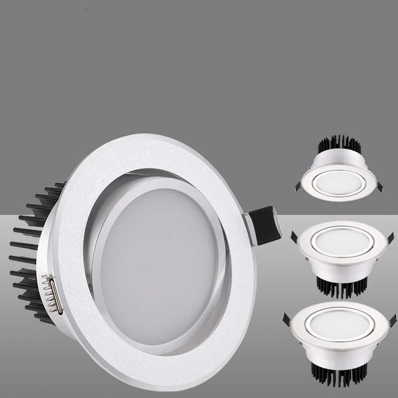 Silver Round Dimmable Recessed LED COB Downlight 3W/5W/7W/12W 15W Recessed LED Ceiling Spot Light 3000K 4000K 6000K AC90-265V