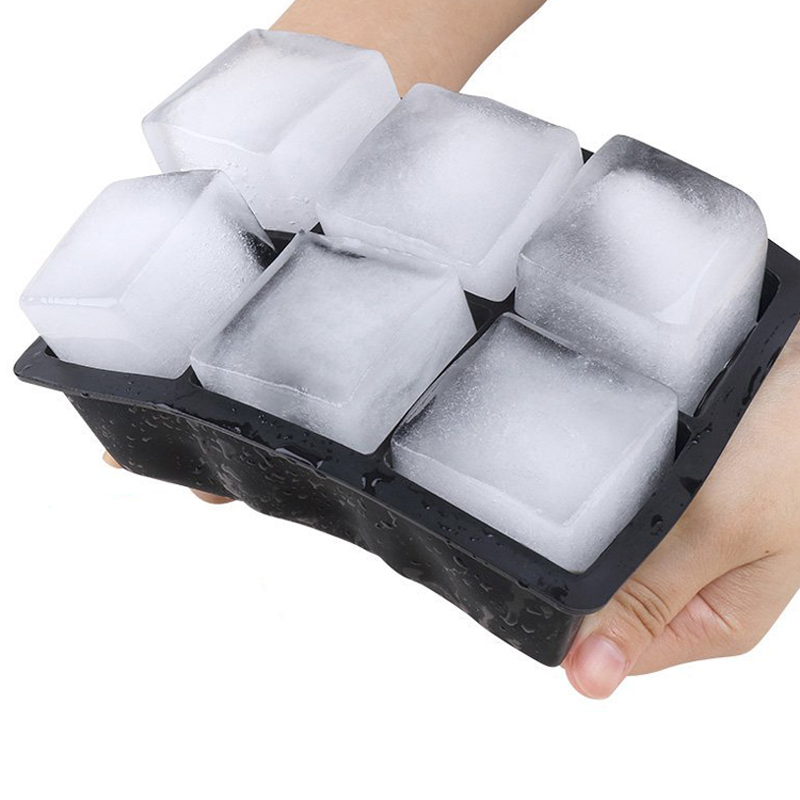 Large Ice Cube Maker Silicone Ice Mold 6 Cell Sphere Ice Ball Mold Square Ice Cube Tray Whiskey Cocktail Party Bar Accessories