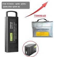 Bateria de backup da grande capacidade da bateria de 11.1v 7500mah lipo para yuneec q500/q500 +/q500 4k/q500 + pro 4k para a bateria do zangão de 7.4v
