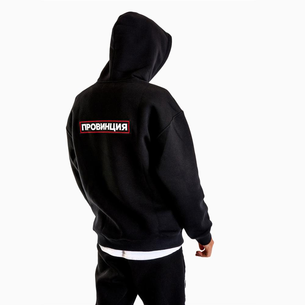 PROVINCE Russian Inscriptions Printed Men's Black Hoodies Fashion Sweatshirt For Men Hipster Cool Graphic Unisex Tops