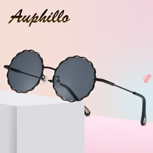 AUPHILLO Kids Sunglasses Metal Round Flower Children Sunglasses Brand Design Girls Boys Vacation Travel Glasses Street Beat B125