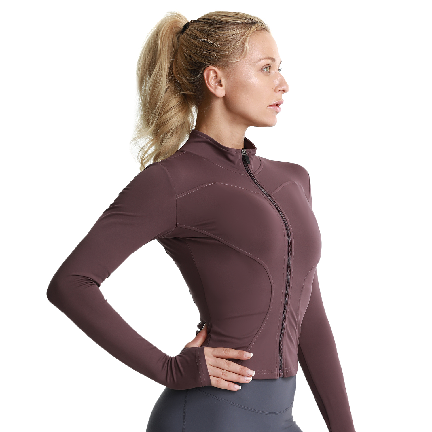 Women Athletic Sport Shirts Slim Fit Long Sleeved Fitness Coat Yoga Crop Tops With Thumb Holes