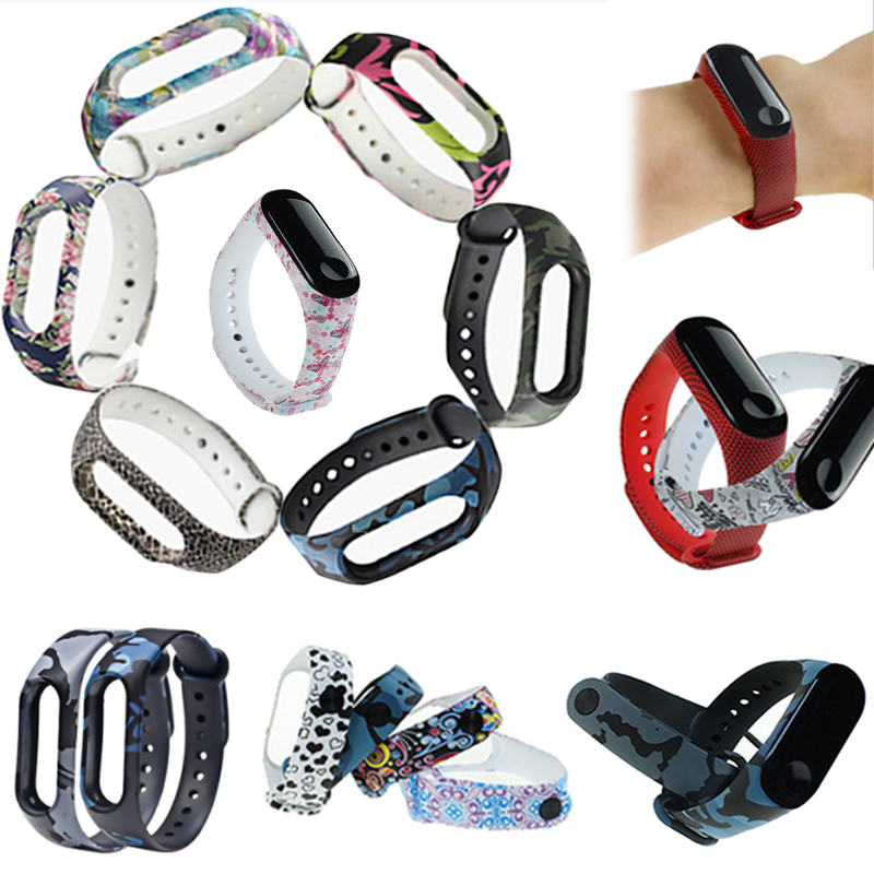 1pc New Band  Fashion Silicone Strap Wristband Soft Bracelet Adjustable Printing For Xiaomi Mi Band 3 Unisex Watch Replacement