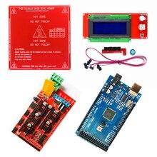 Ramps 1.4 عدة ميجا 2560 R3 مجلس التنمية + سرير ساخن MK2B + RAMPS 1.4 تحكم لوحة التحكم LCD 2004for نك ثلاثية الأبعاد مجموعة الطابعة