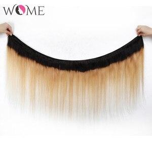 Image 2 - Kadın ön renkli saç demetleri brezilyalı düz saç gölgeli insan saçı demetleri 1b/99j 1b/27 1b/30 iki tonlu Ombre olmayan remy saç