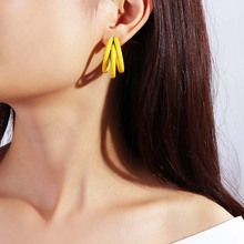 New Sweet Earrings For Women Simple Fashion Colorful Candy Color Three-Layer C-Shape Pendant Alloy Drop Female