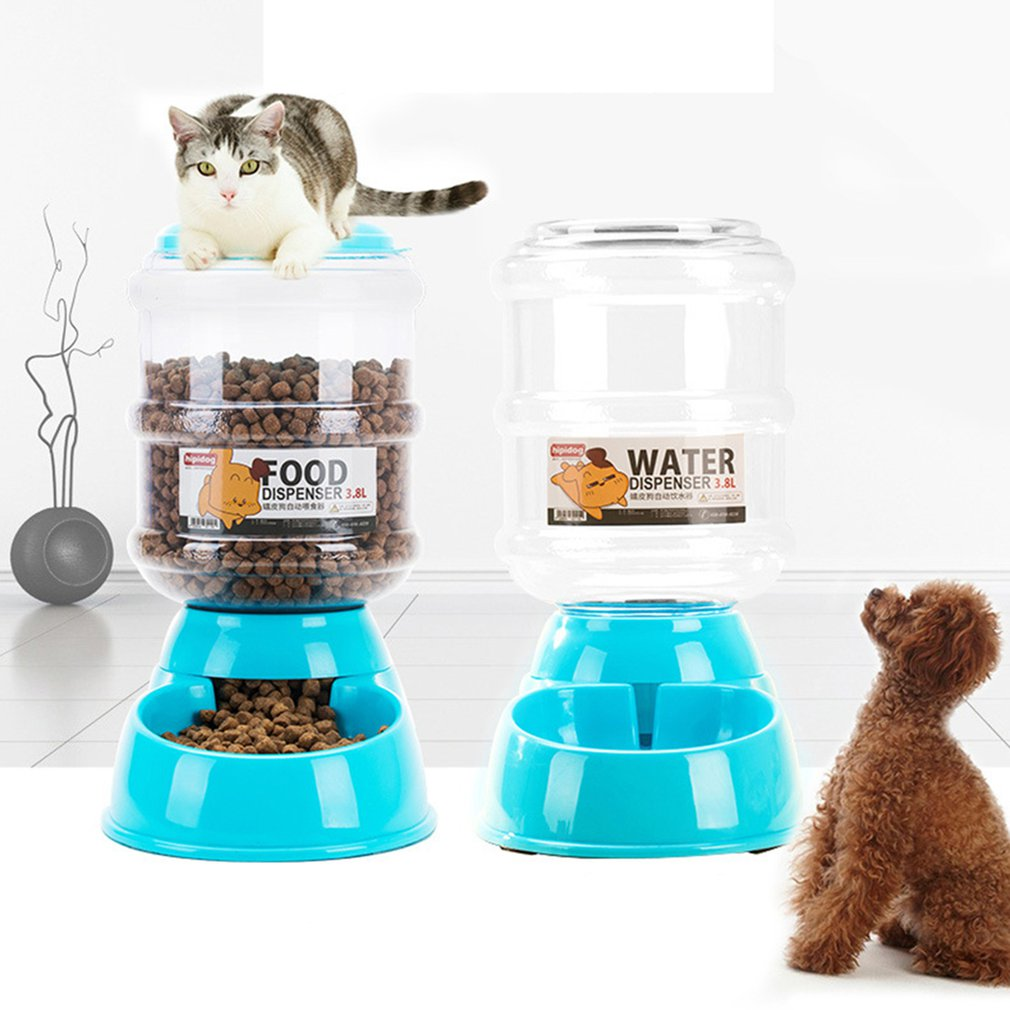 1 PCS Pet 3.8L Automatic Drinking Fountain Teddy Cat Water Dispenser Storage Grain Barrel Feeder Dog Supplies Blue New
