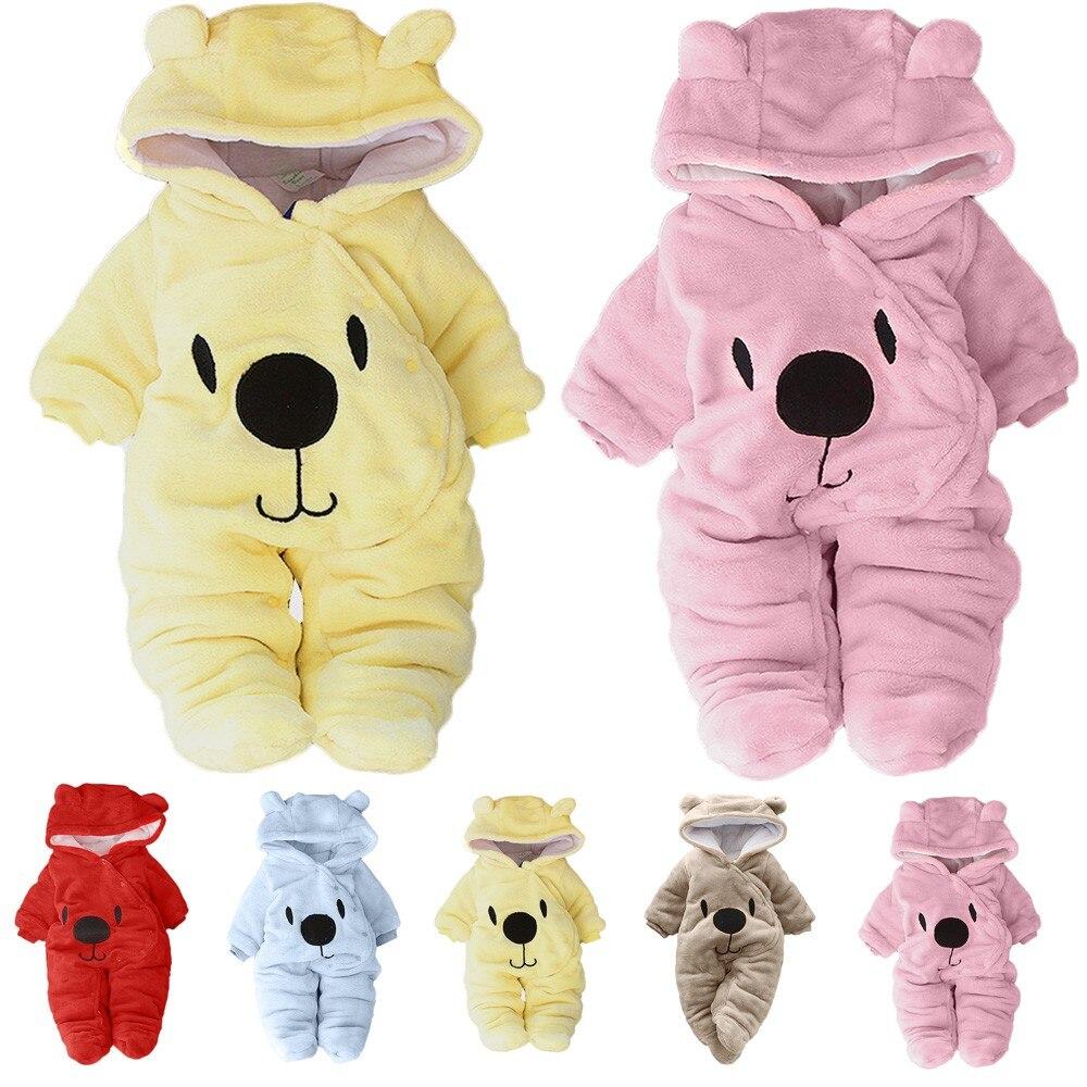 Newborn Baby Girl Boy Long-sleeved Solid Cartoon Bear Velvet Hooded Padded Plus Velvet Hooded Jumpsuit Romper Clothes L1202