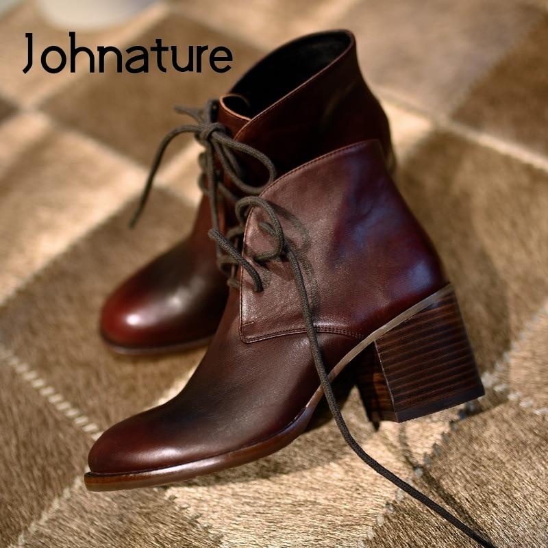 Женские ботильоны из натуральной кожи Johnature, на шнуровке, с закругленным носком, повседневные ботинки ручной работы на платформе, Осень зима 2020|Полусапожки|   | АлиЭкспресс