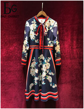 Baogarret Runway Autumn Winter Midi Dress Womens Elegant Bow Collar Flower Print Vintage Female Knee Length Party Dresses