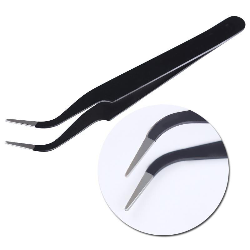 1 PC False Eyelash Curved Tip Nippers Black Color Rhinestone Picking Tool Tweezer Curved Nail Tool Beauty Eye Makeup Tool
